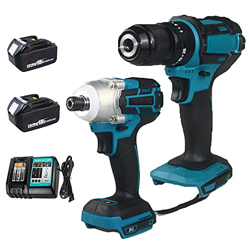 Combi Drill and Impact Driver 18V Cordless Brushless with 2PCS 5.5Ah Batteries and Fast Charger DC18RC for Makita DTD