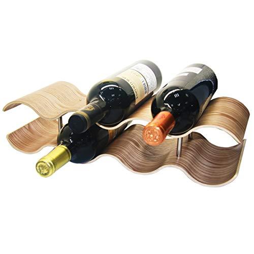 LUCKEG Wine Rack 2 Tier Wooden Wave Wine Bottle Holder, Freestanding Wine Racks Cabinet, Perfect for Bar, Party, Family Cabinet (7 Bottles)