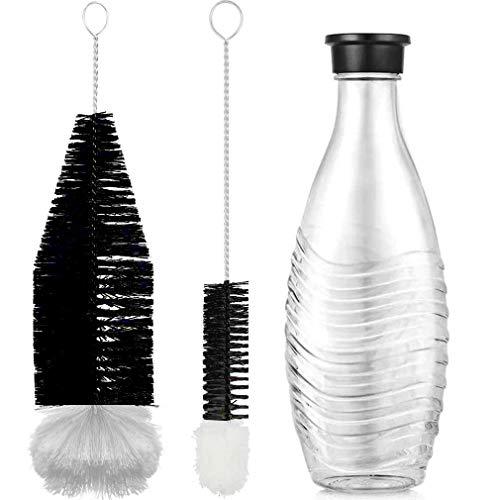 Grunda Juego de 2 cepillos de limpieza de 330 cm, compatible con botellas de vidrio Sodastream, con cabeza de lana para biberones, botellas de agua de Pet-Flashe, limpieza sin arañazos de botellas