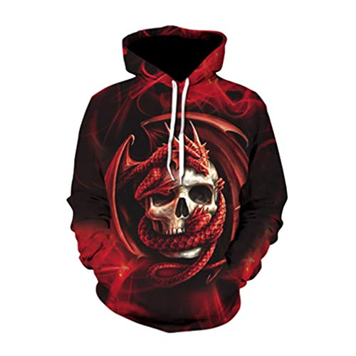 Mens Hoodies 3D Digital Prints Halloween Skull Hooded Sweater Winter Warm Gothic Ghost Printed Drawstring Pullover Fashionable Loose Bone Printed Sweater Plus Size