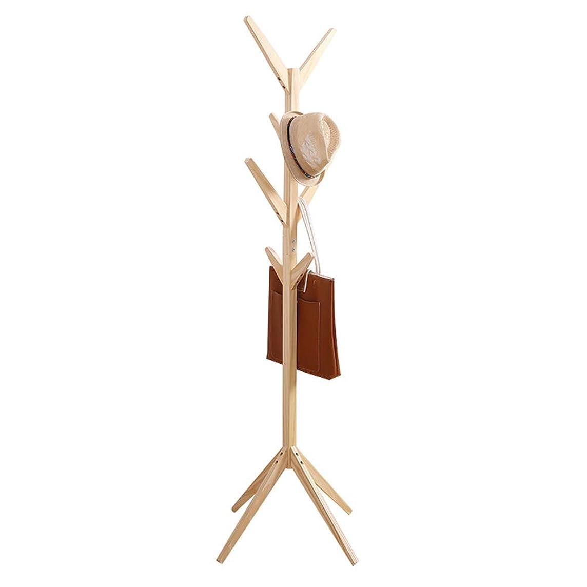 気づく銅微生物ハンガーラック シンプルなクリエイティブコートラックツリー形状無垢材ハンガーフロアファッション服ラックリビングルームの寝室の床ハンガー 家具/収納家具