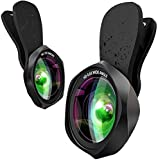 スマホ用広角レンズ スマホ用カメラレンズ 0.6倍広角レンズ 15倍マクロレンズ 簡単装着 高画質 歪みなし 自撮りレンズ ローズ型2in1