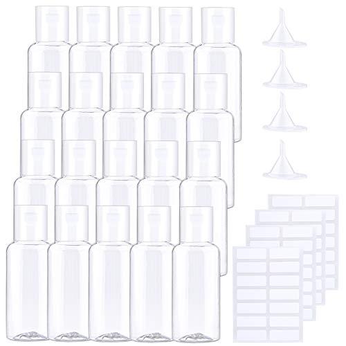 URATOT 20 Stück 30ml Clear Flip Cap Flaschen Transparent Flaschen Kosmetikflaschen Kunststoff Reiseflaschen mit kleinen Trichtern und Etiketten