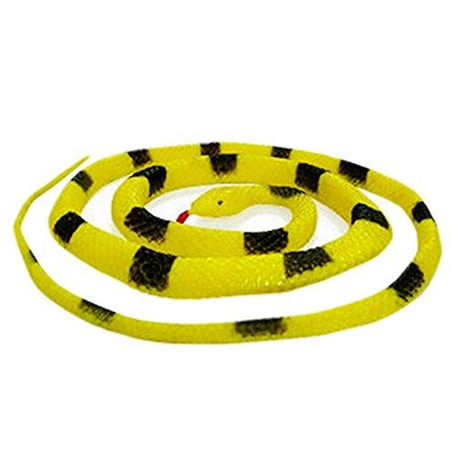 125cm Jaune Noir Caoutchouc Serpent réaliste Reptile Jouet Animal modèle