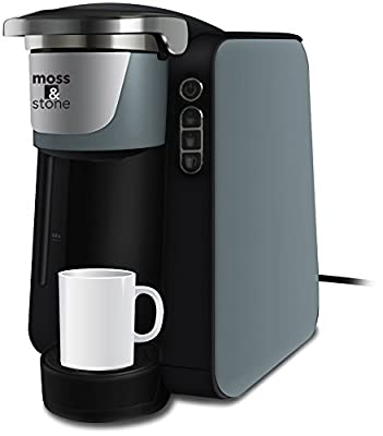 Moss and Stone Single Serve Programmable Coffee Maker for 6, 8, 10 oz. Pods Quick Brew Technology 30 Second Ready (Grey)