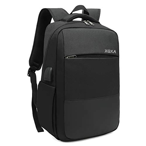 XQXA Backpack for Men,Travel Laptop Backpack with USB Charging//Headphone Port,Durable Water Resistant College School Backpack Laptop Bag for Women Fits 15.6 Inch Computer and Notebook,Black