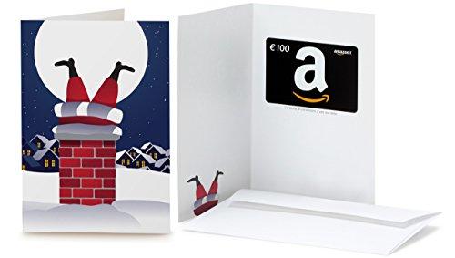 Buono Regalo Amazon.it - €100 (Biglietto d'auguri Babbo Natale Comignolo)