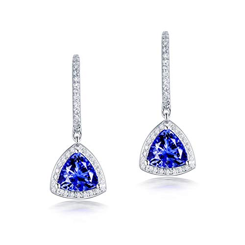 ButiRest Wedding Earrings 750 Dangle Earrings 18K White Gold with Three Claws Triangle Cut 2.6ct Blue Tanzanite IF and 0.3ct Diamond