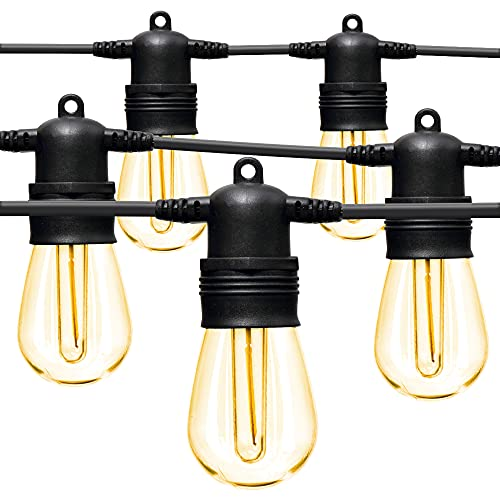 LED Outdoor String Lights 48FT with Edison Vintage Shatterproof Bulbs and Commercial Grade...