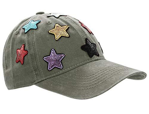 dy_mode Damen Kappe Basecap Baseball Cap Mütze Schirmmütze mit Pailletten - K101 (K101-Vintagegrün)