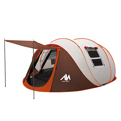 ayamaya Pop Up Tents with Vestibule for 4 to 6 Person - Double Layer Waterproof 3 Season Easy Setup Big Family Camping Tent - Ventilated Mesh Windows Quick Ez Set Up Dome Popup Tents
