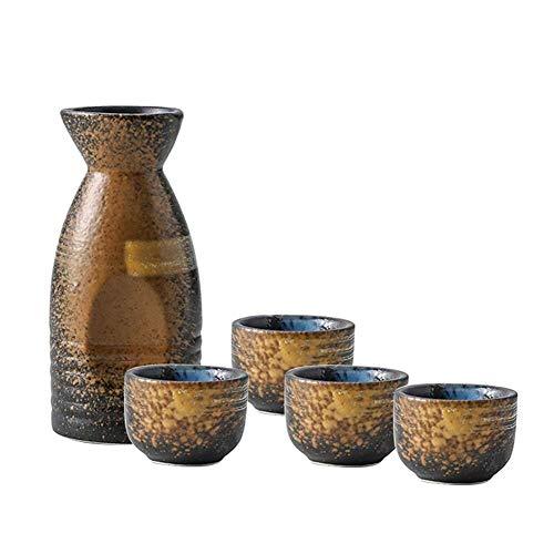 WYBD.Y Ensemble de 5 pièces de saké Japonais de Haute qualité Verre à vin Artisanal Traditionnel en céramique - Série Rhyme