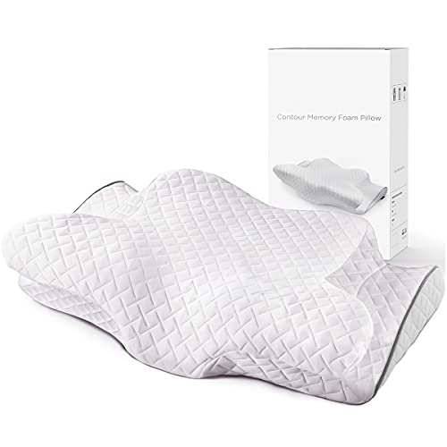 Cervical Contour Pillow,Memory Foam Pillows for Neck and Shoulder Pain Relief,Back Side Stomach Sleeper Bed Pillow with Washable Pillowcase,White