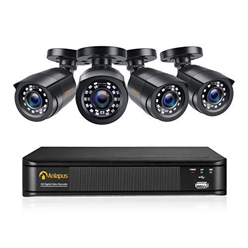 Anlapus CCTV Kit di Videosorveglianza 8 Canali 1080P H.265+ DVR con 4 * 2MP Telecamera Esterno, Backup USB, Allarme Email, Sistema di Sicurezza, Senza HDD
