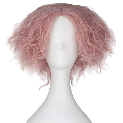 Synthetic Short Kinky Curly Hair Men Boy Center Party Cosplay Costume Wig Halloween Party (Baby pink)