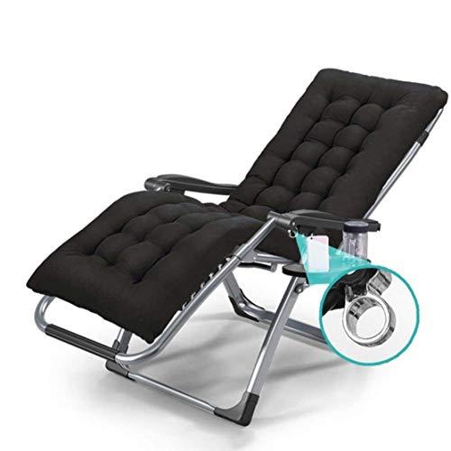 Ligstoelen Outdoor Opvouwbare Tuinstoel voor Patio Strand Camping Opvouwbare Gazon Lounge Stoelen Verstelbare Ligstoelen met Kussen, Stoel + Zwarte Mat
