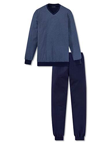Schiesser Herren Lang Zweiteiliger Schlafanzug, Blau (Dunkelblau-Gemustert 835), 52