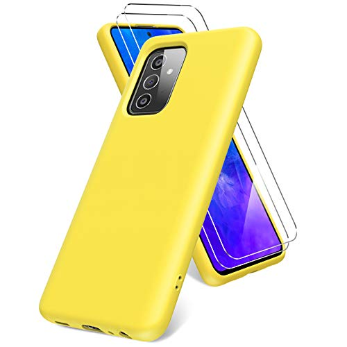 Vansdon Funda Compatible con Samsung Galaxy A72 5G/4G, 2 Unidades Protector Pantalla Cristal Templado, Silicona Líquida Gel Ultra Suave Funda- Amarillo