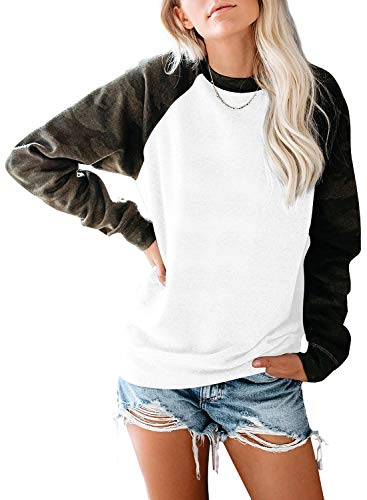 JomeDesign Womens Long Sleeve Camouflage Print Pullover Crewneck Sweatshirt Casual Tops Raglan Shirt White Medium