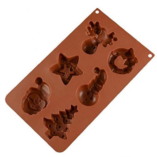 AMOYER 6-Loch-silikon-backform Weihnachten Sankt-schneemann-Dekoration-Form Für...