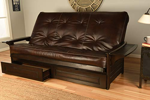 Wood Futon Espresso Frame, Arm Trays Includes 7 Inch Mattress Bonded Leather Sofa Sleeper Bed Choice to add Drawers (Queen Size Frame, Mattress w/Drawers Set)