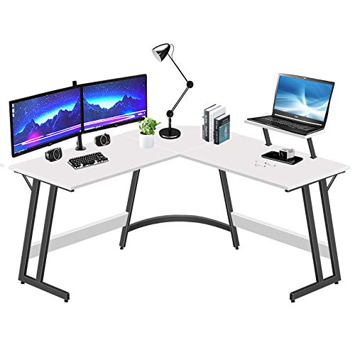 LUFEIYA L Shaped Desk White Corner Computer Desks for Small Space Home Office Student Study Bedroom Gaming PC Work,51 Inch Modern L-Shaped Writing Table with Monitor Stand