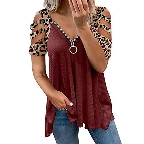 Damen Bluse Stilvoll Schulterfrei Lange, Kurzarm T-Shirt Mit Reißverschluss V-Ausschnitt Tee Tops Atmungsaktiv Lose Leopard T-Shirt Hemd Elegant Bluse Sportshirt Casual Tunika Longshirt