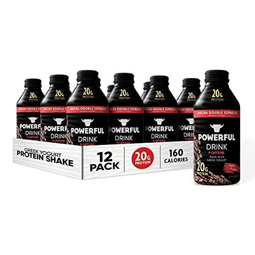 Powerful Foods, Protein Shake, 20g Protein, Greek Yogurt, Low Carb, Gluten Free, Kosher, Ready to Drink (Mocha Double Espresso, 12 oz, Pack of 12)