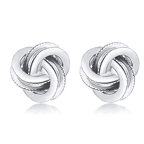Gold Plated Sterling Silver Studs Love Knot Earrings For Women | Hypoallergenic & Nickle Free Jewelry for Sensitive Ears (8, white-gold-plated-silver)