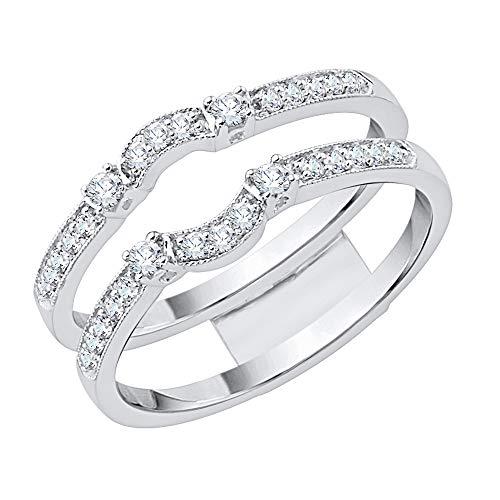 KATARINA Anillo de ajuste curvo de diamante en oro blanco de 14 k (3/4 cttw, J-K, SI2-I1) (tamaño 7.5)