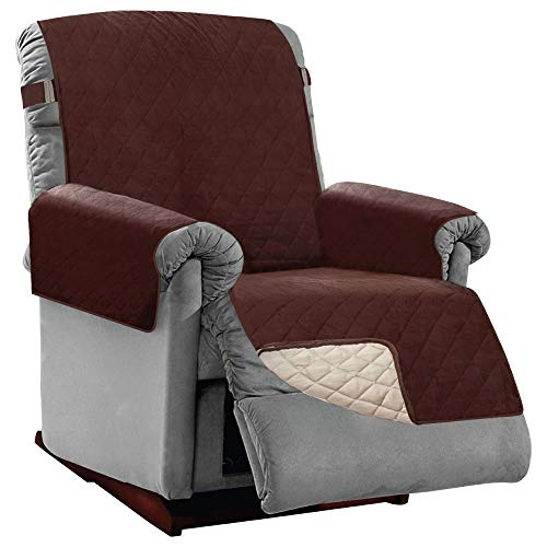 Sofa Shield Patented Large Recliner Slipcover, Reversible Tear Resistant Soft Quilted Microfiber, 28' Seat Width, Durable Furniture Stain Protector with Straps, Washable Cover, Kids, Chocolate Beige