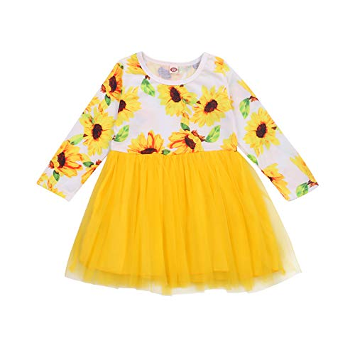 Yingyingni Toddler Little Girl Long Sleeve Pullover Casual Swing A-Line Sunflower Dresses (Yellow,5-6X)