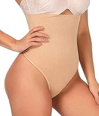 ShaperQueen 102 Thong - Womens Waist Cincher Body Shaper Trainer High-Waisted Girdle Faja Tummy Control Panty Shapewear (L, Nude)