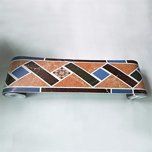Patrón geométrico Impermeable Auto Adhesivo Fondo de Pantalla Borde salón Cuarto de baño Cocina Piso zócalo Cintura Pegatina de Pared (Color : WB61 09)