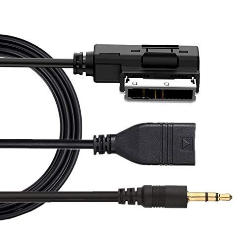 AMI MDI MMI AUX USB Kabel Adapter, Musik Interface mit 3,5 mm kompatibel für Mercedes Benz S SL CLS CL C SLK E ML GLK R mit Comand APS NTG 2.5 3 4.5