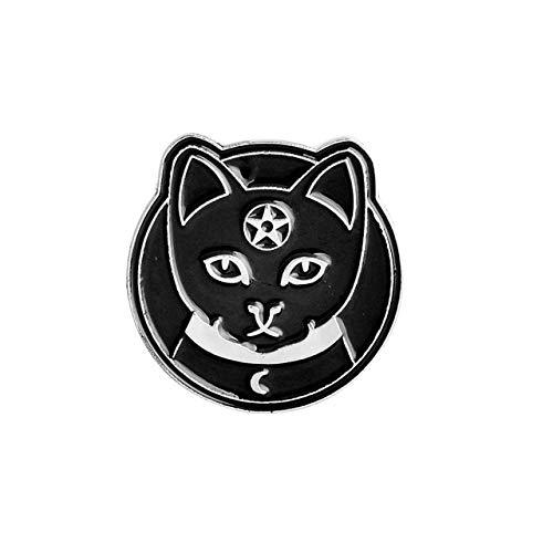 Alfileres de esmalte de bruja y gatos, reloj de arena, pata de gato, ojo de lágrima, insignias, broches, bolsa, ropa, alfiler de solapa, estilo punk negro, estilo brujería1