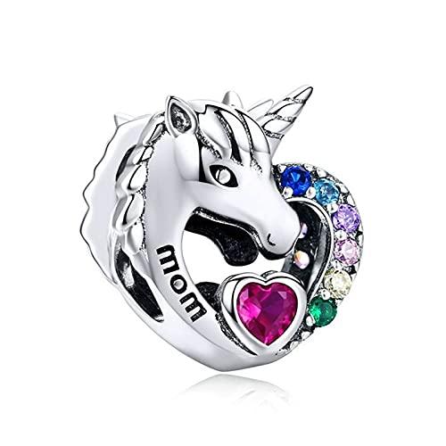 Pandora 925 Plata Pan Charms Pulsera Color Cristal Corazón Unicornio Mamá Pony Beads Mujeres Accesorio De La Joyería Diy Brazaletes Love Mo R Regalo Exquisito