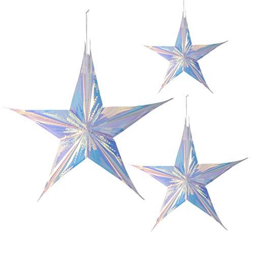 SOIMISS 4 Piezas Colgante Estrella Lámpara Sombra Brillo Brillante Estrellas Colgantes Pentagrama Techo Linterna Sombra Árbol de Navidad Estrella Decoración Navideña 60 Cm 40 Cm 30 Cm 15