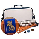 Yellow Mountain Imports American Mahjong Set, Koi Fish with Soft White Leatherette Case, Four Wooden All-in-One Racks with Pushers, Wind Indicator, Dice, and Wright Patterson Count Scoring Coins