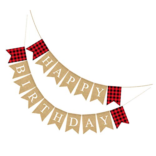 SOIMISS Happy Birthday Burlap Banner Red and Black Plaid Bunting Garland Rustic Decorative Hanging Swallowtail Flags for Mantel Fireplace Door Birthday Party Decorations