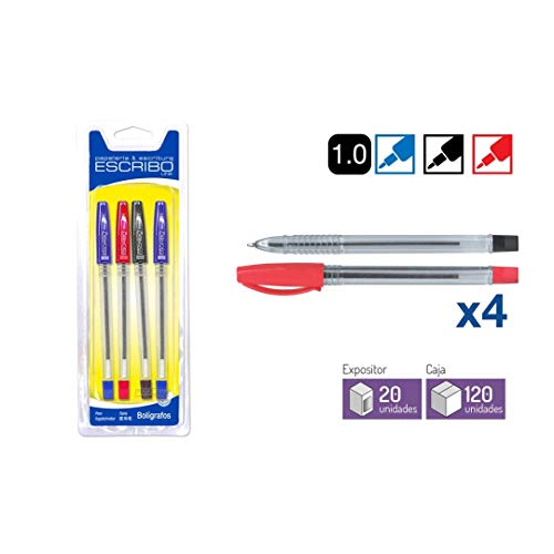 Boligrafos Punta de Bola 1mm - Colores Azul x6 + Negro x2 - con Tapon y Pinza para Colgar - Modelo Basic - 8 unidades