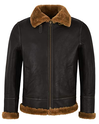 Smart Range Giacca Bomber in Pelle di Montone Shearling Marrone Zenzero B3 Uomo Bomber Flying RAF NV-65 (M for Chest 42')