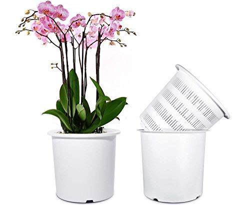 Mkono 7 Inch Plastic Orchid Pots Set with Holes and Mesh, 2 Inner and 2 Outer Plant Planters