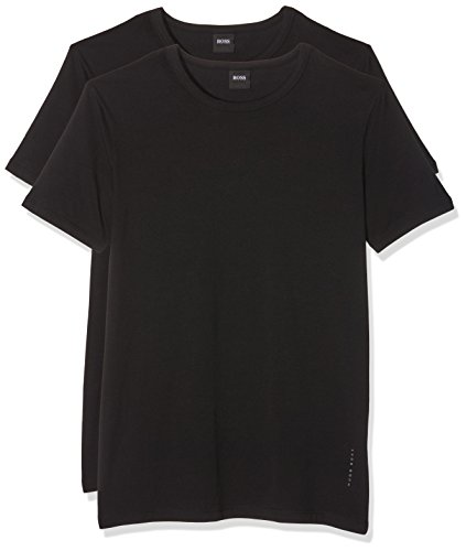 BOSS Herren RN 2P CO/EL T-Shirts, Schwarz (Black 1), Medium (2er Pack)