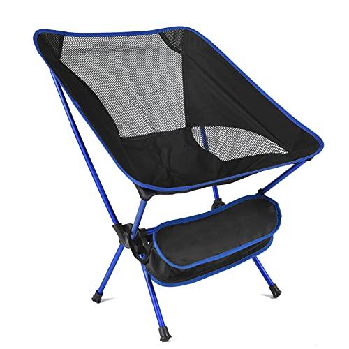 YALTOL Silla de Camping Plegable Silla de Viaje Plegable Ultraligera Silla de Playa al Aire Libre súper Dura Senderismo Picnic Silla de Pesca Campamento al Aire Libre Interior Paddock Pesca,Azul