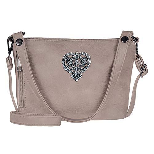 Trachten-Handtasche Dirndltasche Umhängetasche Kunst-Leder Taupe grau-braun beige
