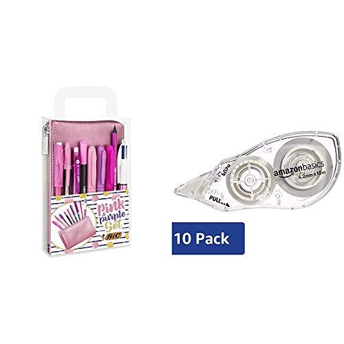 BIC Pink & Purple Set - 1 Astuccio, 2 Penne a Sfera/1 Penna Correttore Gel/1 Matita Grafite con Gomma/1 Pennarello da Scrittura & Amazon Basics Correttore a nastro, 4,2 mm x 10 m, confezione da 10
