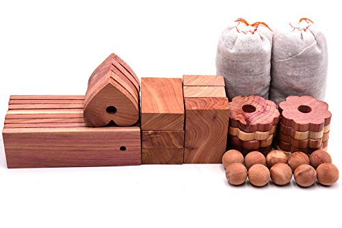 Wahdawn Fresh Aromatic Cedar Wood Blocks for Clothes Storage Natural Red Cedar Value of Balls Hangers Rings Planks and Chips Sachets 40 Items