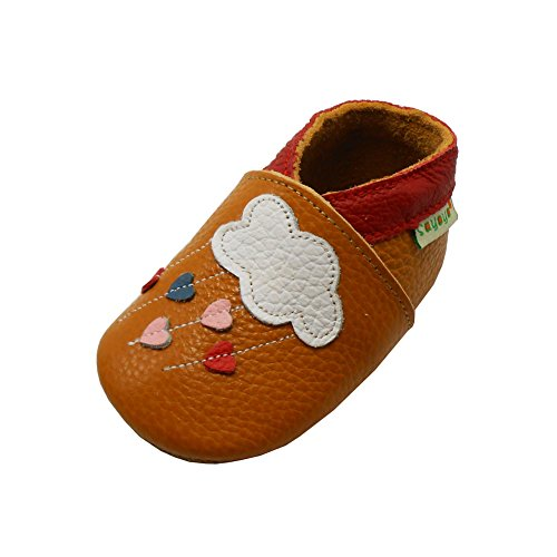 Sayoyo Baby Cloud Soft Sole Leather Infant Toddler Prewalker Shoes,Brown,12-18 Months / 6.5-7 M US Toddler