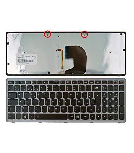 Portatilmovil Teclado para PORTÁTIL Lenovo IDEAPAD Z500 P500 25206561 V-136520FK1 Negro con Marco Plateado RETROILUMINADO